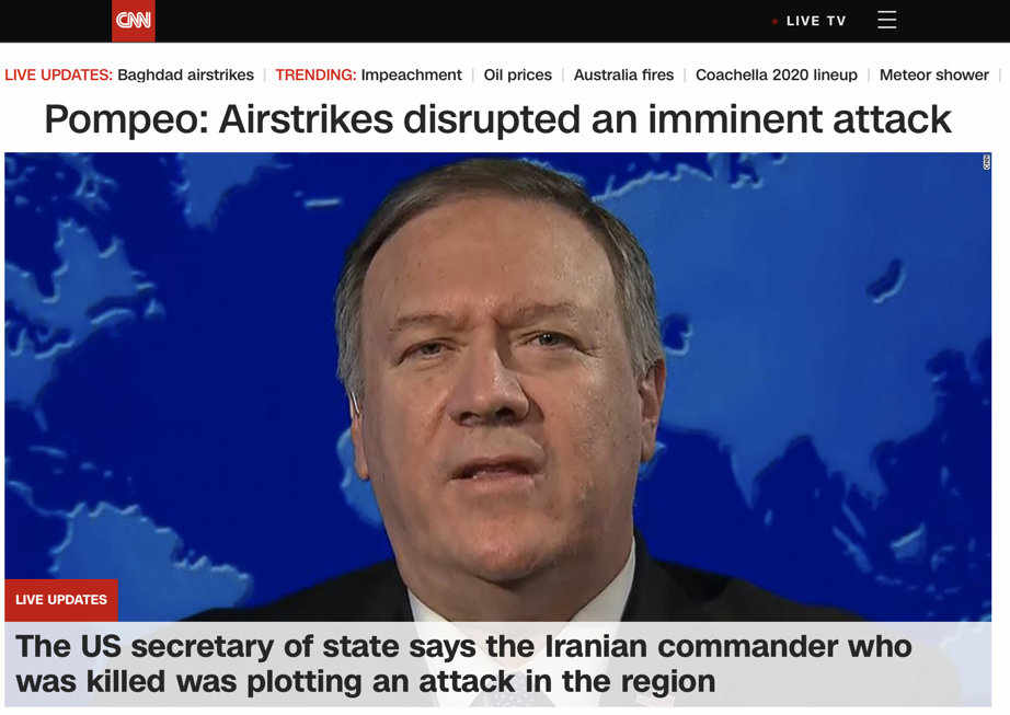 """Pompeo: Airstrikes disrupted an imminent attack"""