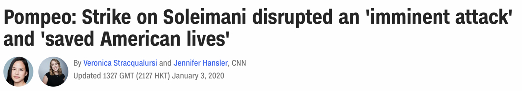 """""""Strike on Soleimani disrupted an 'imminent attack' and 'saved American lives'"""""""