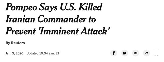 """Pompeo Says U.S. Killed Iranian Commander to Prevent 'Imminent Attack'"""