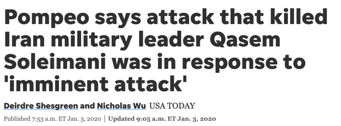 """""""Pompeo says attack that killed Iran military leader Qasem Soleimani was in response to 'imminent attack'"""""""