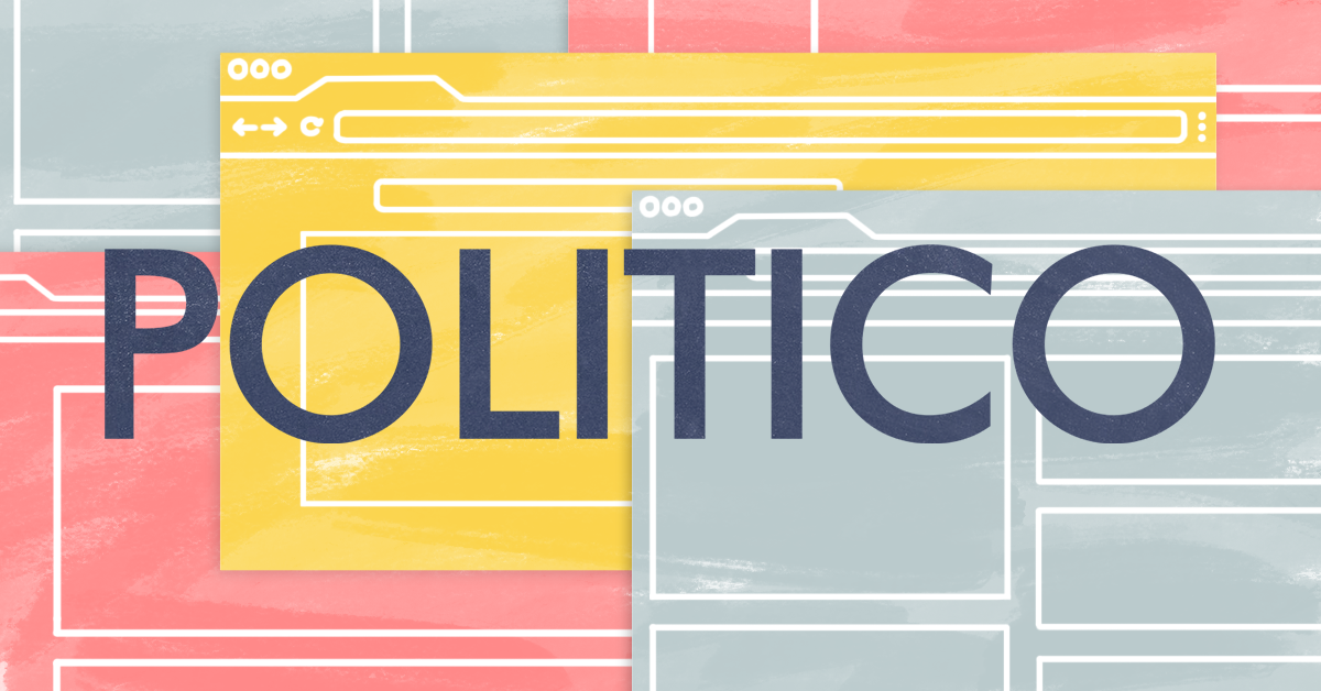 Image of Politico's logo with stylized browser windows in the background