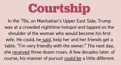 "Screenshot of Politico article section titled ""Courtship"""