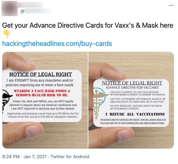 "image of tweet with alleged ""vaccination exemption"" card"