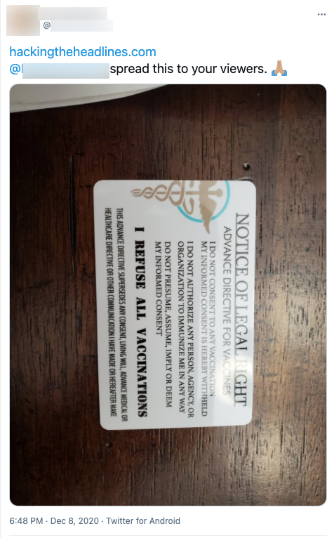 """image of tweet with alleged """"vaccination exemption"""" card"""