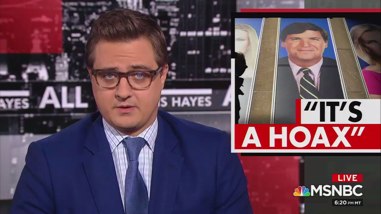 """MSNBC's Chris Hayes: Tucker Carlson pushes white supremacy on Fox News """"but the tone is set at the top"""" by the Murdochs"""
