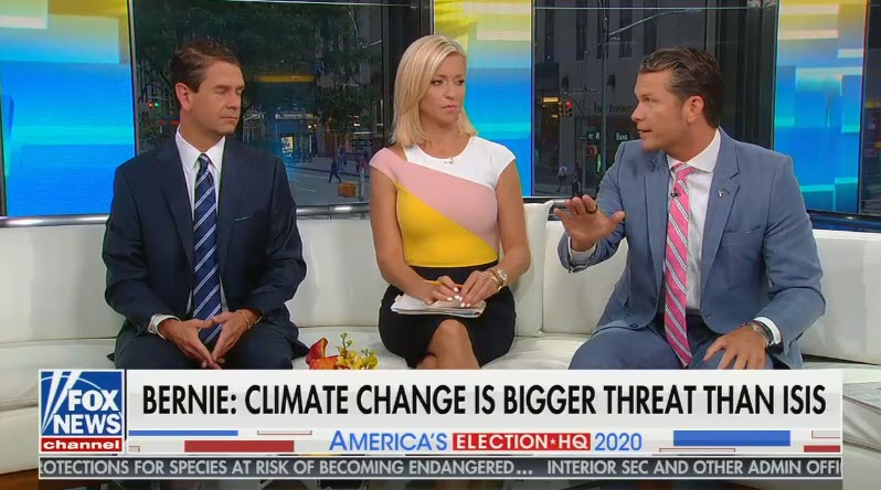 """Fox's Pete Hegseth says addressing climate change is the left's """"religion"""" and """"they want to fight the weather"""""""