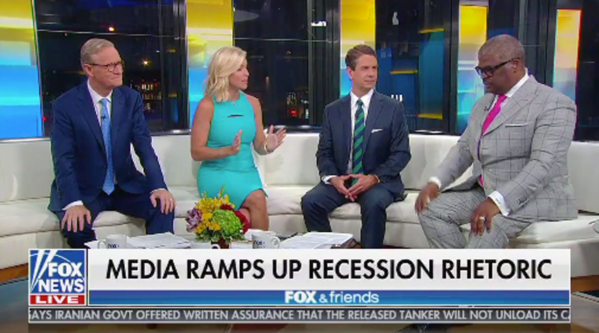 Fox & Friends calls recession indicators a media conspiracy to stop Trump's re-election