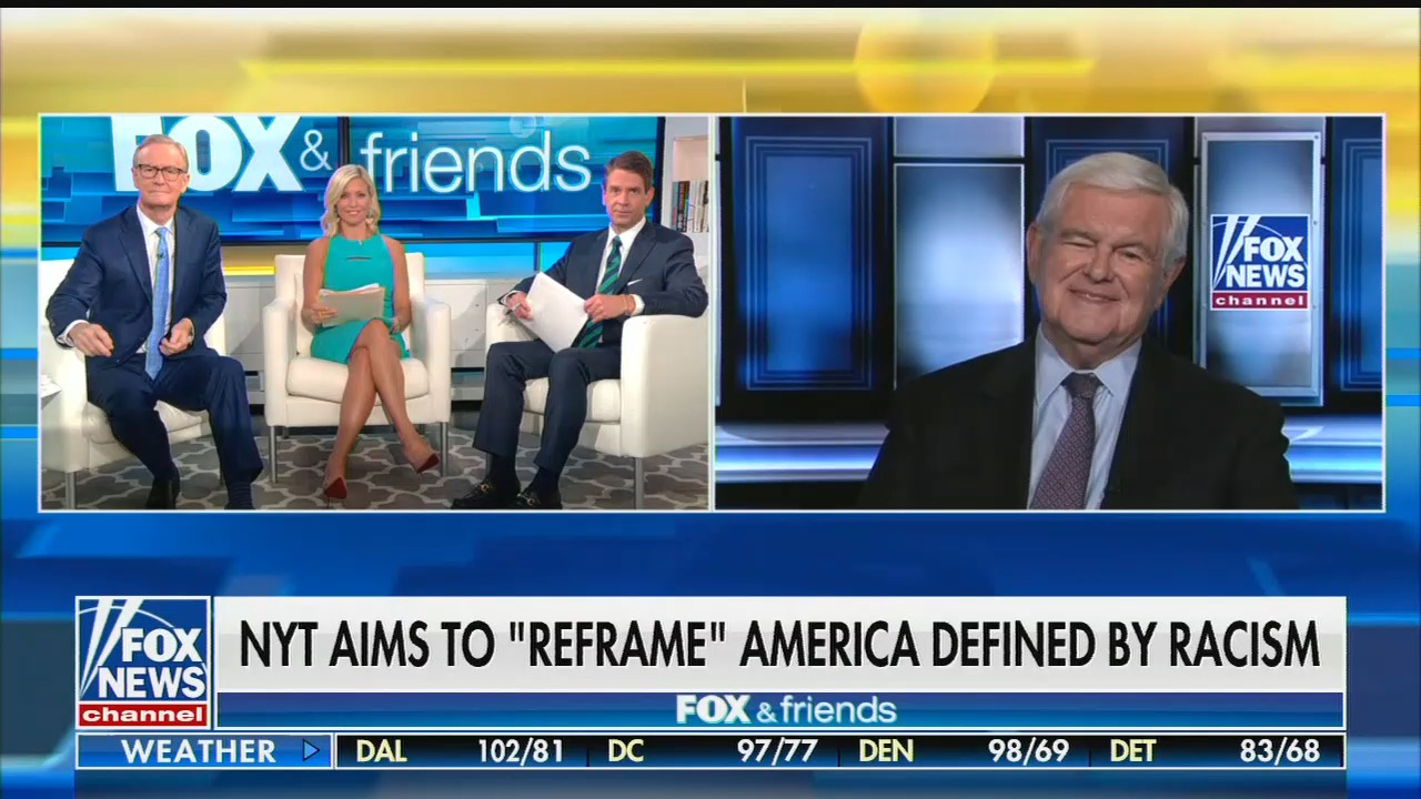 "Fox's Newt Gingrich melts down over NY Times's 1619 Project about impact of slavery: ""The whole project is a lie"""