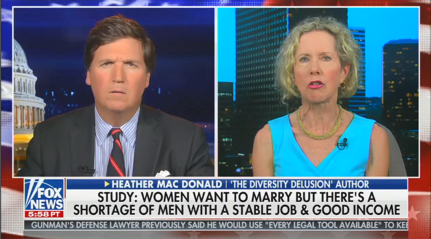 "Tucker Carlson: "" Gender roles are the building blocks of any society and we've let a small group of unhappy people destroy ours"""