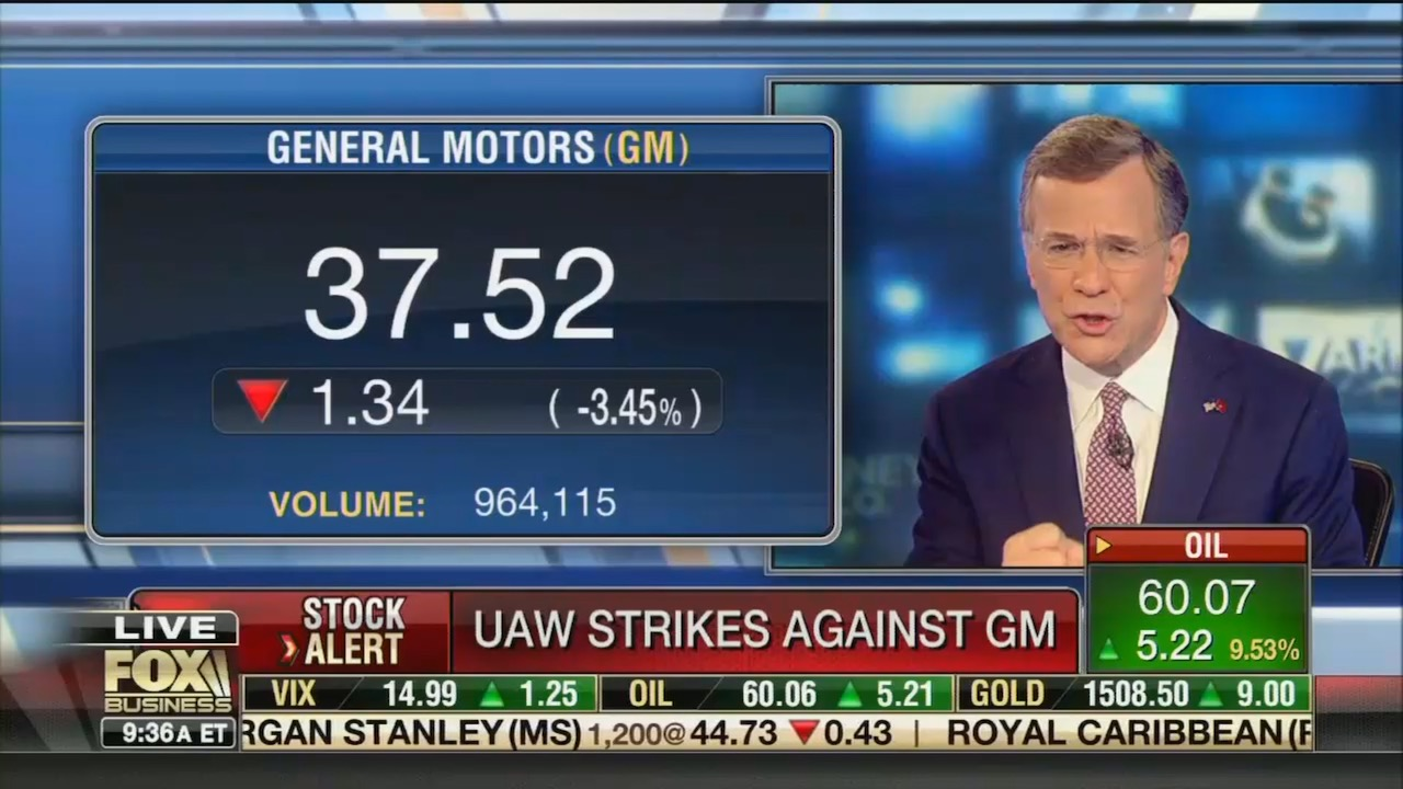"""Fox News takes on GM strike: Company could get """"squeezed"""" by well-paid union workers"""