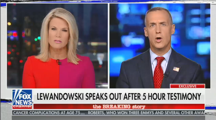 """Fox """"straight news"""" anchor doesn't ask Corey Lewandowski about admitting to lying before Congress"""