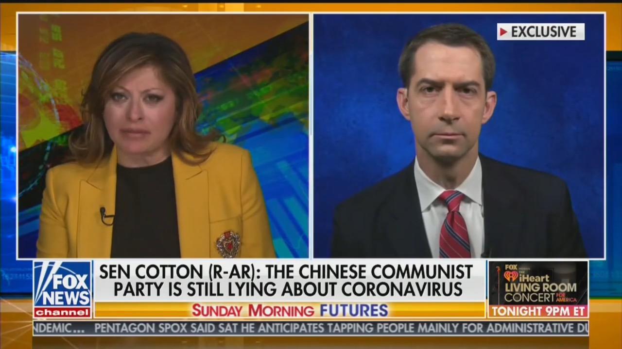 Fox News anchor Maria Bartiromo and Sen. Tom Cotton keep pushing coronavirus conspiracy theory
