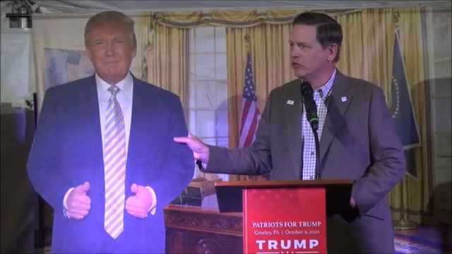 """At """"Patriots for Trump"""" event, Sportsmen for Trump co-chair laughs as audience reacts to his speech with threats to shoot Democratic politician"""