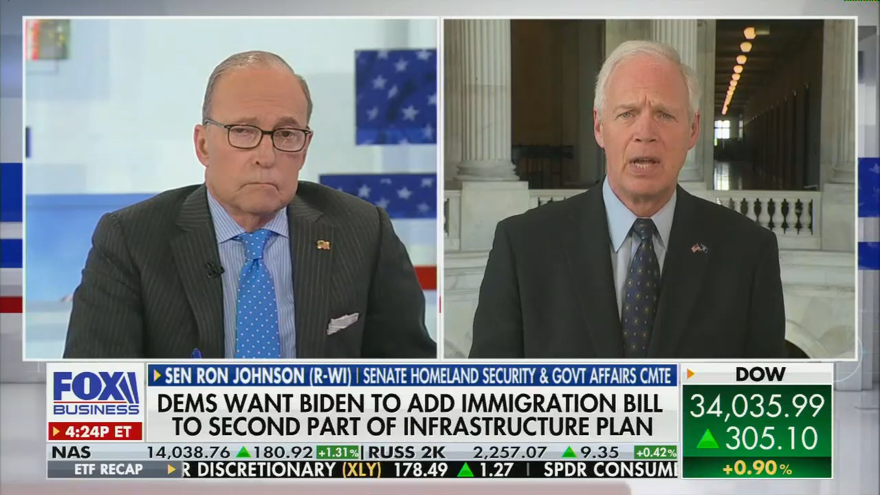 """On Fox Business, Larry Kudlow allows Sen. Ron Johnson to push racist """"replacement"""" theory"""