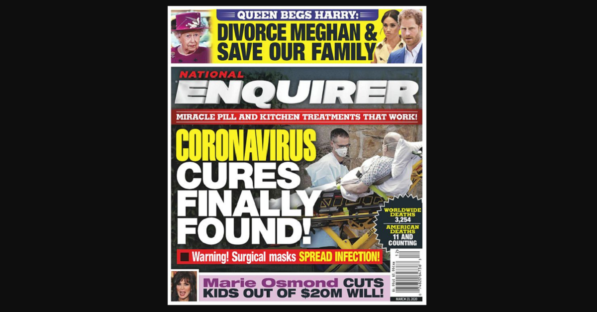 """National Enquirer pushes dangerous lie that """"coronavirus cures"""" have been """"found"""" and are """"at your fingertips!"""""""