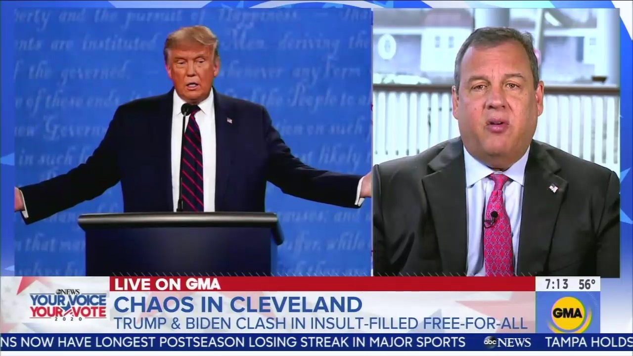 """ABC contributor Chris Christie defends Donald Trump's remarks about the Proud Boys: """"I heard it differently"""""""