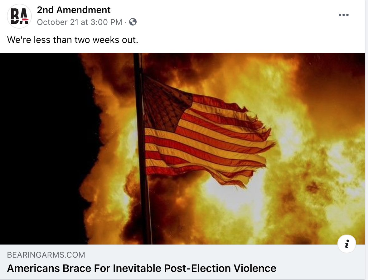 Some pro-gun Facebook pages are fearmongering about mass violence from the left after the election