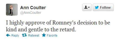 Ann Coulter Calls President Obama 'The Retard' On Twitter