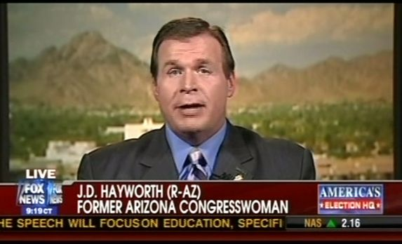 Fox chyron labeling J.D. Hayworth a