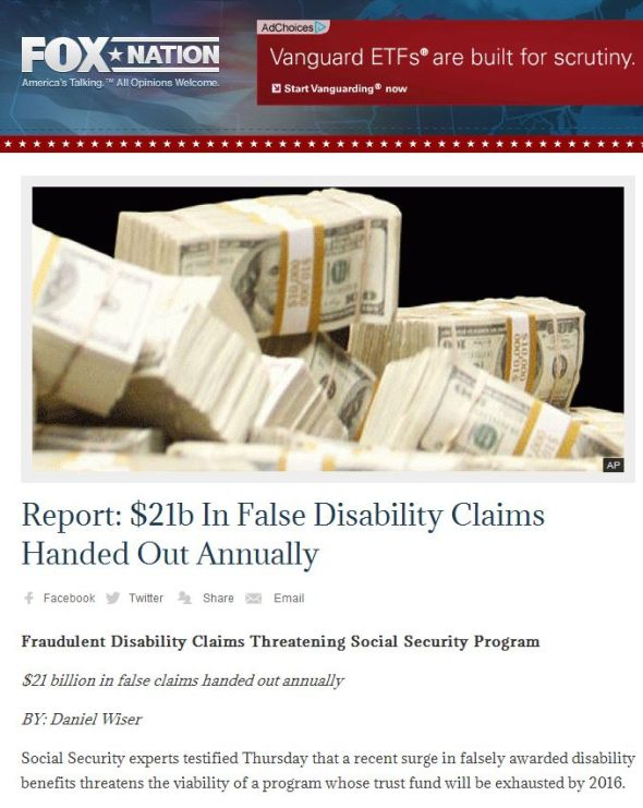 Fox Nation post hyping disability fraud
