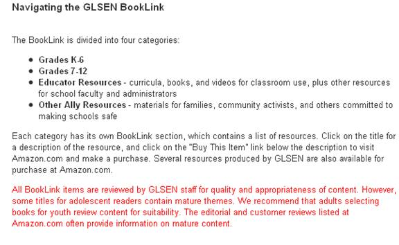 Booklink section of GLSEN Web site