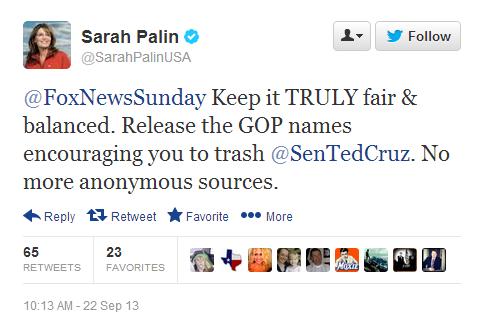 Civil War: Fox Contributor Palin Demands Fox News Sunday