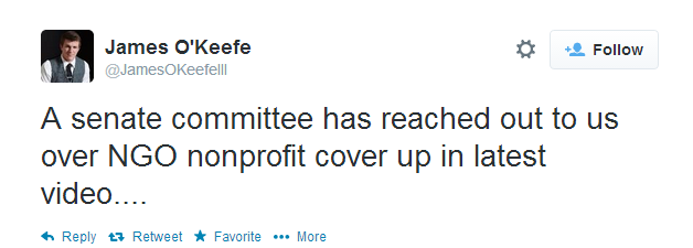 O'Keefe tweet