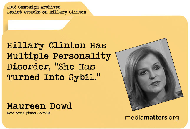 Media Matters Archive: Maureen Dowd
