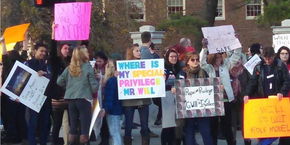 Students protesting a George Will Speech at Miami University
