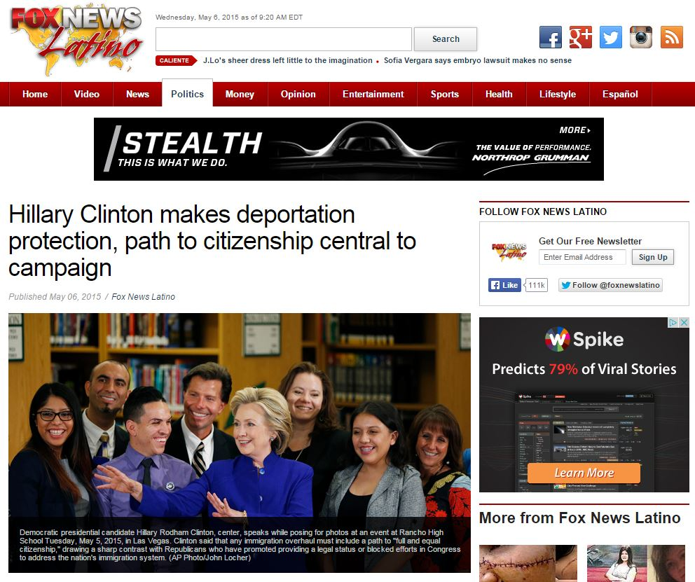 Immigration News: Fox Versus Fox Latino On Hillary Clinton's Immigration Remarks