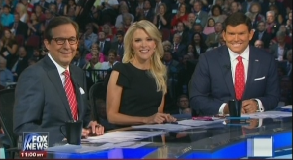 Chris Wallace Megyn Kelly and Bret Baier at the GOP 2016 Debate