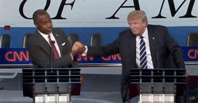 Ben Carson and Donald Trump at the second Republican primary debate