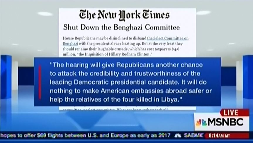 New York Times editorial on Benghazi committtee