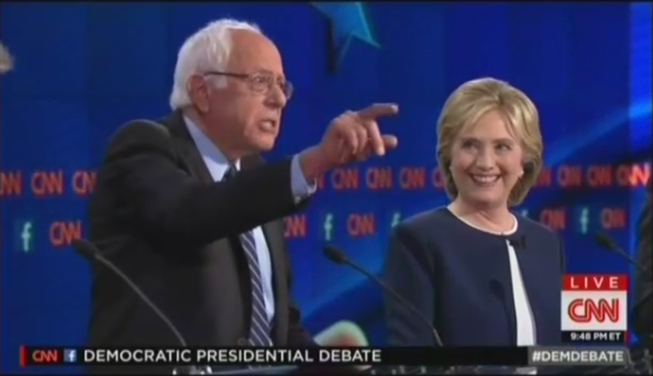 Clinton and Sanders at the October 13 debate