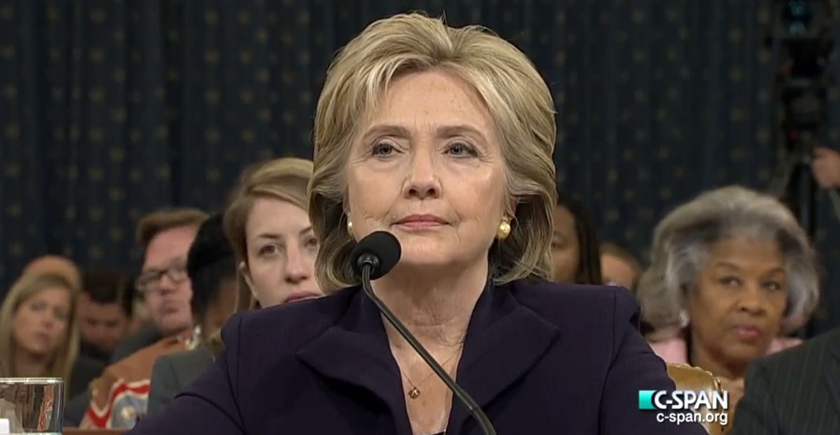Hillary Clinton at her second congressional Benghazi testimony