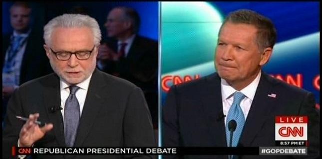 CNN Debate Moderator Wolf Blitzer Asks Gov. John Kasich ...