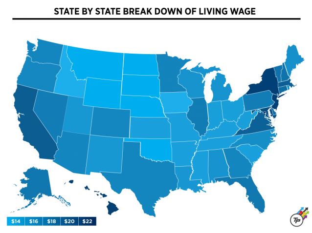 Living wage state by state