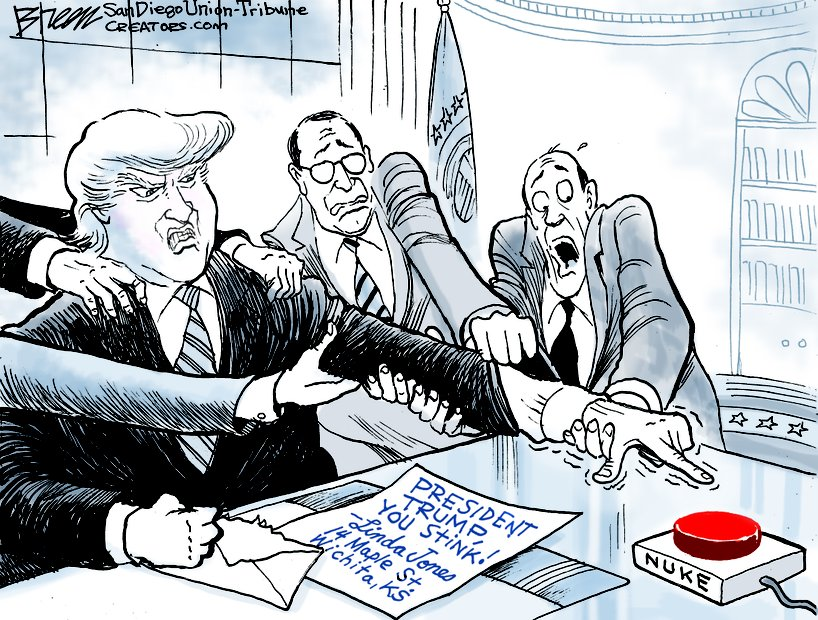 Image result for cartoon of president with nuclear button