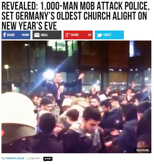 """Breitbart Story About """"Mob"""" Of 1,000 Muslims Attacking A German"""