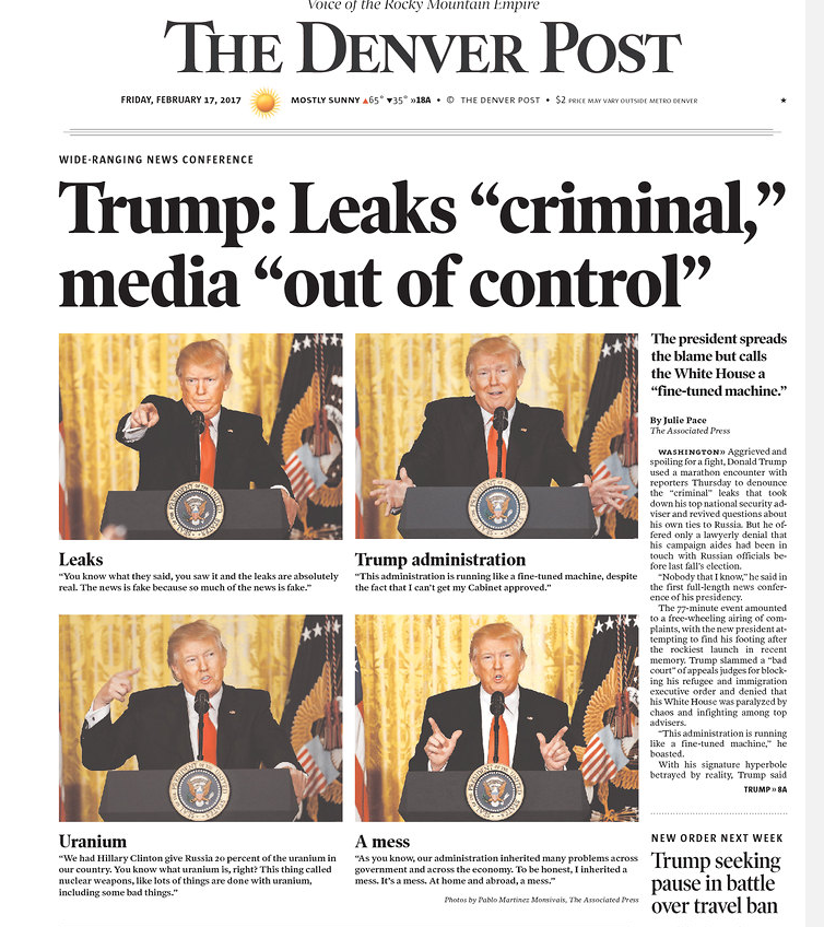 Front Page Headlines Fall For Trump's Press Conference Trap