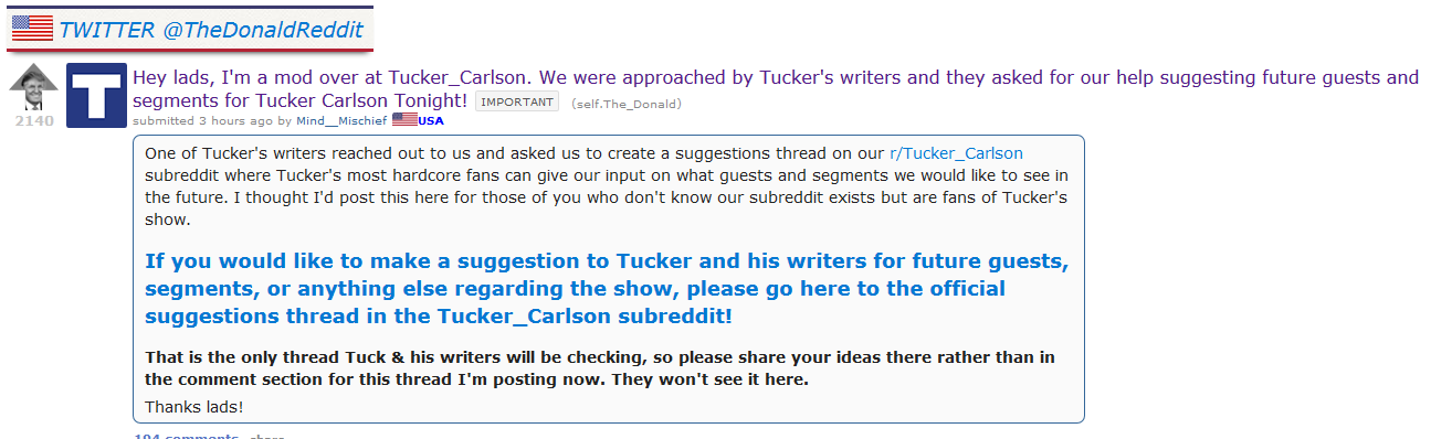Tucker Carlson Tonight Allegedly Solicits Show Ideas From Reddit