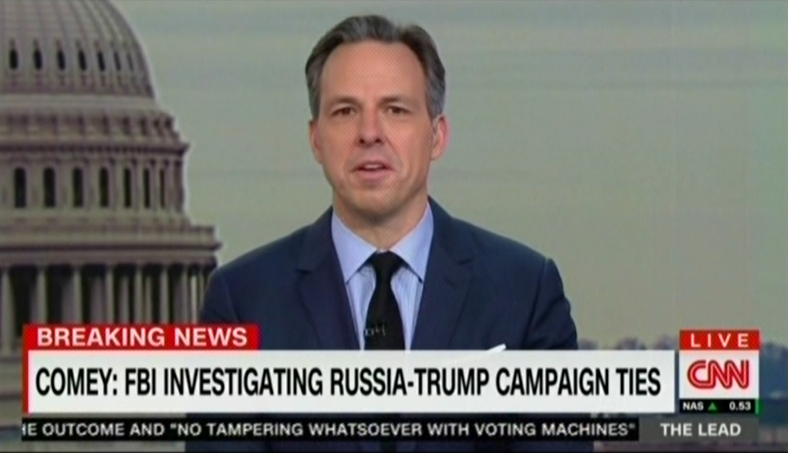 photo image Jake Tapper: When I Looked Up, Fox Wasn't Covering The Russia Hearing, Just Like Russian State Media