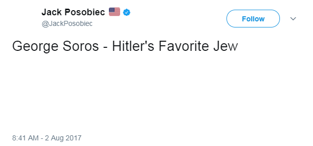 """In response to D'Souza's claim, far-right troll Jack Posobiec tweeted and  subsequently revised, """"George Soros - Hitler's Favorite Jew."""""""