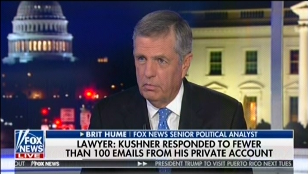 mediamatters.org - Brit Hume dismisses Jared Kushner's use of private email as a 'rookie mistake'