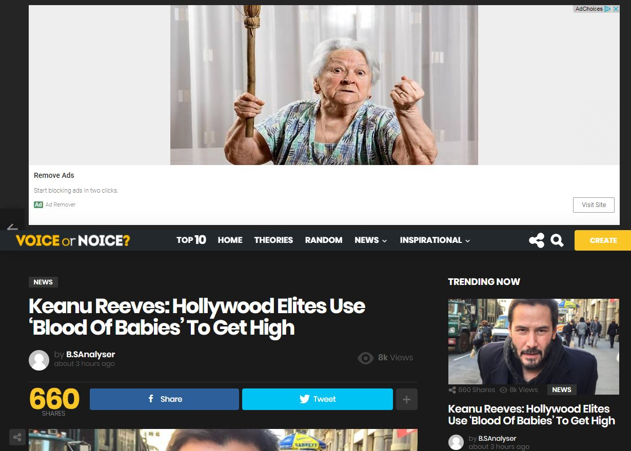 ... are funded by ads from Google AdSense, one of the most widely used  advertising services by fake news websites. (YourNewsWire's article  displayed ads via ...
