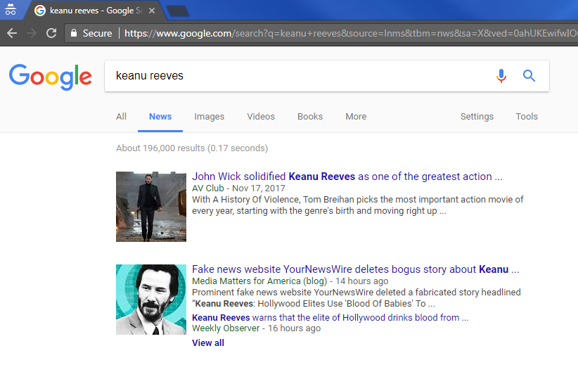 Fake A Story Google Is Keanu About Reeves Promoting Website's And Monetizing