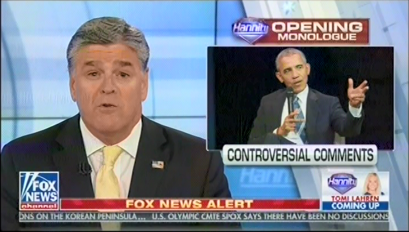 "Sean Hannity: Obama is ""obviously sick, pathetic, and twisted in this obsession with President Trump"""