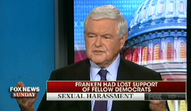 Fox's Newt Gingrich compares sexual harassment allegations to a lynch mob