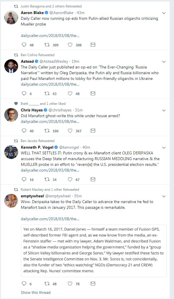 Drudge's Russian propaganda pipeline pushes Daily Caller op