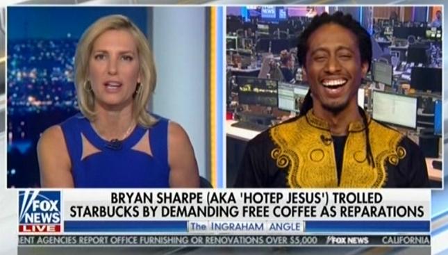 "Laura Ingraham hosts anti-Semitic ""Hotep Jesus"" extremist to attack Starbucks' diversity training"
